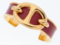 Luxury Accessories:Accessories, Hermes Rouge Vif Courchevel Leather with Gold Hardware Chaine d'Ancre Cuff Bracelet. ...