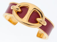 Hermes Rouge Vif Courchevel Leather with Gold Hardware Chaine d'Ancre Cuff Bracelet