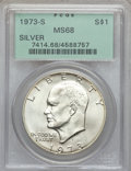 Eisenhower Dollars: , 1973-S $1 Silver MS68 PCGS. PCGS Population (822/3). NGC Census:(145/1). Mintage: 869,400. Numismedia Wsl. Price for probl...
