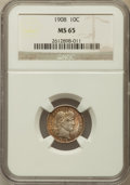 Barber Dimes: , 1908 10C MS65 NGC. NGC Census: (39/21). PCGS Population (38/20).Mintage: 10,600,545. Numismedia Wsl. Price for problem fre...