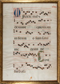 Books:Music & Sheet Music, Antiphonal Manuscript Leaf on Vellum. [n.d., ca. 1500s]. Large leaffrom missal or antiphonal containing 5 bars of music on ...