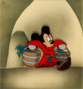 "Animation Art:Production Cel, Fantasia ""The Sorcerer's Apprentice"" Mickey Mouse Production Cel Set-Up (Walt Disney, 1940)...."