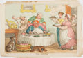 Art:Illustration Art - Mainstream, [Color-Plate]. Thomas Rowlandson. The Glutton. London: [N.d. c.1815]. Hand-colored etched plate. Approximately 10.5 x 15 in...