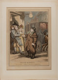 Art:Illustration Art - Mainstream, [Color-Plate]. Thomas Rowlandson. Miseries of London, or a SurlySaucy Hackney Coachman. London: 1814. Hand-colored etched p...