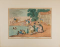Art:Illustration Art - Mainstream, [Color-Plate]. Thomas Rowlandson. Rural Sports. Cat in a Bowl. N1.London: [N.d., c. 1811]. Hand-colored etched plate. Appr...