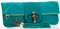 Gucci Green Leather Clutch Bag with Bamboo Turnlock