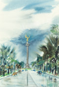 Texas:Early Texas Art - Drawings & Prints, LLOYD LOZES GOFF (American, 1918-1982). Angel of Independence, Mexico City, 1954. Watercolor on paper. 21-1/2 x 14-1/2 i...
