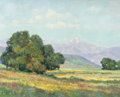 Texas:Early Texas Art - Regionalists, HALE WILLIAM BOLTON (American, 1885-1920). Country Landscapewith a View of the Mountains, 1918. Oil on canvas. 16 x 20 ...