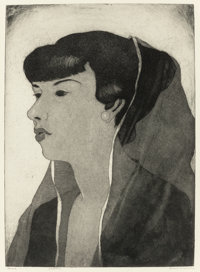 BLANCHE MCVEIGH (American, 1895-1970) Head (Flora Reeder) aquatint 15-3/4 x 11-1/2 inches (40.0 x
