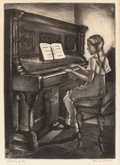 Prints, BLANCHE MCVEIGH (American, 1895-1970). Practicing. aquatint. 10-3/4 x 7-3/4 inches (27.3 x 19.7 cm). Ed. 8/25. Signed, n...