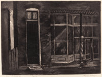 BLANCHE MCVEIGH (American, 1895-1970) Tall Door, St. Charles, Missouri aquatint 9-3/8 x 12-3/8 in
