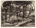 Prints, BLANCHE MCVEIGH (American, 1895-1970). Pond. aquatint. 10-3/4 x 13-3/4 inches (27.3 x 34.9 cm). Ed. 50. Signed, titled, ...