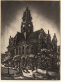 BLANCHE MCVEIGH (American, 1895-1970) Decatur Courthouse aquatint 12-1/2 x 9-1/8 inches (31.8 x 2