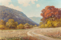 ROBERT WILLIAM WOOD (American, 1889-1979) Country Road Oil on canvas 26 x 39 inches (66.0 x 99.1