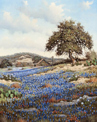 RANDY PEYTON (American, b. 1958) Country Landscape with Bluebonnets and Windmill Oil on canvas 24