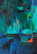 Paintings, MARGARET PUTNAM (American, 1913-1989). Break Blue Pennant. Oil on canvas. 56 x 38-1/2 inches (142.2 x 97.8 cm). Signed l...