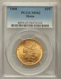 Indian Eagles: , 1908 $10 Motto MS62 PCGS. PCGS Population (1405/1061). NGC Census:(1435/704). Mintage: 341,300. Numismedia Wsl. Price for ...