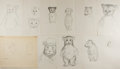 Art:Illustration Art - Mainstream, Garth Williams. Preliminary Character Sketches from Three LittleAnimals. Consists of ten pencil sketches on pla...