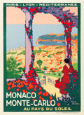 "Movie Posters:Miscellaneous, Monaco Monte-Carlo Travel Poster (Paris Lyon Mediteranée Rail Line, Circa 1922). Poster (31"" X 42.5"").. ..."