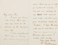 "Autographs:Authors, Francis Parkman. Autograph Letter Signed, ""F. Parkman."" Two pages of a single bifolium, 7.75 x 6 inches (total), to Hon. Edw..."