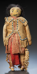 American Indian Art:Beadwork and Quillwork, AN APACHE BEADED HIDE MALE DOLL. c. 1885...