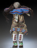 American Indian Art:Beadwork and Quillwork, A SIOUX BEADED HIDE FEMALE DOLL. c. 1890...