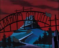 "The New Batman/Superman Adventures ""Mad Love"" Arkham Asylum Production Background Set-Up (Warner Brothers, 199..."