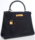 Luxury Accessories:Bags, Hermes 28cm Blue Marine Calf Box Leather Retourne Kelly Bag with Gold Hardware. ...