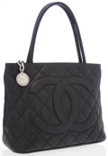 Luxury Accessories:Bags, Chanel Black Caviar Leather Medallion Tote Bag with Hammered SilverHardware. ...