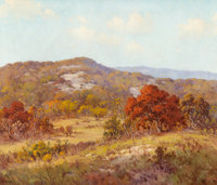 PORFIRIO SALINAS (American, 1910-1973) Autumn in the Hill Country Oil on canvas 24 x 28 inches (6