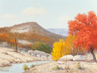 Porfiro Salinas (American, 1910-1973) Fall in the Hill Country Oil on canvas 12 x 16 inches (30.5