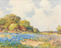 ROBERT WILLIAM WOOD (American, 1889-1979) Country Field of Bluebonnets with House Oil on canvas