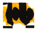 Prints, ROBERT MOTHERWELL (American, 1915-1991). Burning Elegy, 1991. Lithograph with hand-coloring. 42-1/8 x 53 inches (106.9 x...