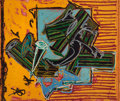 Prints, FRANK STELLA (American, b. 1936). La Penna di Hu, 1988. Silkscreen, woodcut, relief-printed etching and stencil with han...