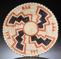 American Indian Art:Baskets, A PAIUTE POLYCHROME COILED TRAY. c. 1970...