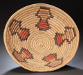 American Indian Art:Baskets, A JICARILLA APACHE POLYCHROME COILED TRAY. c. 1940...