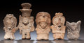 Ceramics & Porcelain:PreColumbian Ceramics, FIVE VERACRUZ MINIATURE FIGURES. c. 600 - 900 AD... (Total: 5 )