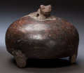 Pre-Columbian:Ceramics, A TRIPOD LID WITH ANIMAL FINIAL. c. 600 - 900 AD. ...