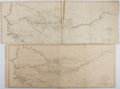 """Books:Maps & Atlases, [Antique Maps]. Two Antique Maps of Africa From Mungo Park's Expedition, Circa 1815. 27"""" x 10.5"""". Folding maps disbound from..."""