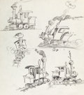 Animation Art:Production Drawing, Dumbo Casey Jr. Concept Drawing (Walt Disney, 1941)....