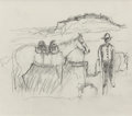 Fine Art - Work on Paper:Print, OTIS DOZIER (American, 1904-1987). Cowboy with Horse. Pencil on paper. 5-1/2 x 6-1/2 inches (14.0 x 16.5 cm). Artist's e...