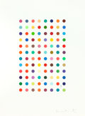 Fine Art - Work on Paper:Print, DAMIEN HIRST (British, b. 1965). Xylene Cyanol Dye Solution,2005. Aquatint in colors with pencil. 23 x 15 inches (58.4 ...