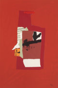 Prints, ROBERT MOTHERWELL (American, 1915-1991). Redness of Red, 1984. Lithograph in colors, screenprint, and collage. 24 x 16 i...
