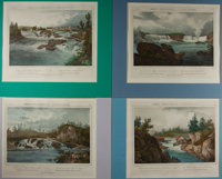 Lot of Four Antique Colored Lithographs of New York Landscapes After Works by Jacques-Gérard MIlbert (1766-1840)...