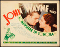 "Movie Posters:Western, Somewhere in Sonora (Warner Brothers - First National, 1933). Title Lobby Card (11"" X 14"").. ..."