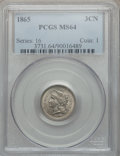 Three Cent Nickels: , 1865 3CN MS64 PCGS. PCGS Population (521/140). NGC Census:(549/150). Mintage: 11,382,000. Numismedia Wsl. Price for proble...