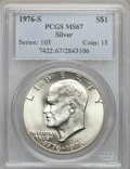 Eisenhower Dollars: , 1976-S $1 Silver MS67 PCGS. PCGS Population (3431/463). NGC Census: (924/73). Mintage: 11,000,000. Numismedia Wsl. Price fo...