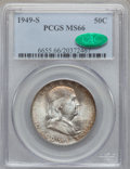 Franklin Half Dollars: , 1949-S 50C MS66 PCGS. CAC. PCGS Population (229/3). NGC Census:(186/8). Mintage: 3,744,000. Numismedia Wsl. Price for prob...