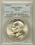 Eisenhower Dollars: , 1974-S $1 Silver MS67 PCGS. PCGS Population (3975/944). NGC Census: (1547/161). Mintage: 1,900,156. Numismedia Wsl. Price f...