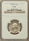 1950-S/D 25C VF30 NGC. NGC Census: (2/77). PCGS Population (6/168). Mintage: 10,284,004. Numismedia Wsl. Price for probl...